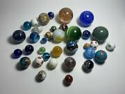 Nice Collection Lot Of 36 Assorted Contemporary Art Glass Marbles