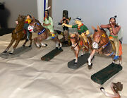 """Elastolin 1930s Lot Of 4+ Vintage Germany Made Cowboy And Native American """"indian"""""""