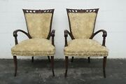 Duncan Phyfe Hand Carved Pair Of Side Living Bed Room Den Fireplace Chairs 2329