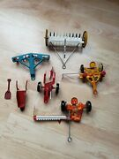 Marx, Tin Litho, Toy Farm Set, Machinery, Tractor Implements, Equipment Lot Of 7