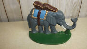 Vintage Cast Iron Elephant Door Stop Painted 5 3/4 Tall