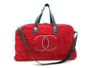 Authentic Excellent Airlines 2way Boston Bag Cotton Leather Red 95863