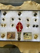 Lot Of 20 Pieces Ww2 Usmc Eagle Globe Anchor Pins Cards And Patch
