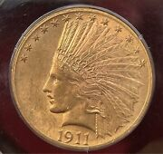 1911 Us 10 Gold Indian Head Eagle Pcgs Ms61