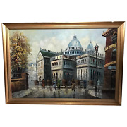 Early 20th Century Oil Painting St Paul's Cathedral After Antoine Blanchard