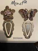 Vintage Monet Rhinestone Set Book Page Clip Markers Flower Butterfly New J33