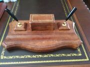 Vintage Desk Double Pen Holder, Leather With Gilt Trim And Clip Box Rare