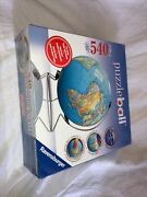 Ravensburger 3d Jigsaw Puzzle Ball Earth World Globe 540 Pcs With Stand 2007 New