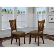 East West Furniture Vancouver Wood Seat Kitchen Dining Chairs In Oak Finish