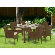 East West Furniture Jubk7-02a 7pc Outdoor-furniture Brown Wicker Dining Set Incl