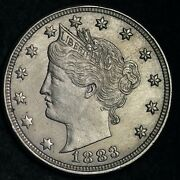 1883 With Cents Liberty V Nickel Choice Unc Free Shipping E100 Xbl