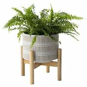 Ceramic Plant Pot With Wood Stand - 7.3 Inch Modern Round Decorative Flower Pot
