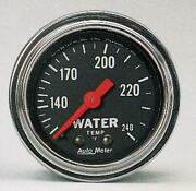 Autometer Gauge, Water Temp, 2 1/16 , 120-240 Degrees F, Mechanical, Tradition