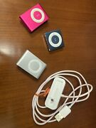 Apple Ipod Shuffle Lot Of 3 4th Generation And 2nd Generation Pink Silver Blue