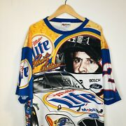Rare Vintage Rusty Wallace Miller Lite All Over Print Tshirt Size Chase X-large