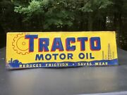 Vintage Tracto Motor Oil Tin Embossed Sign Original Stout Sign Co.