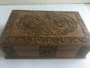 Vintage Carved Wooden Velvet Lined Jewelry Box Leaves Detailed W/ Tray No Key