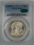 1938 D Walking Liberty Half Dollar 50c Pcgs And Cac Certified Ms 64 Mint Unc 137