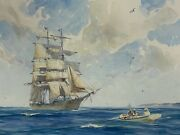 Gordon Grant Original Watercolor Signed Framed 21x16 Marine Time Early 1900and039s