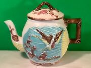Rare Antique Majolica Teapot Bird Butterfly On Fan - Wardle C.1870and039s