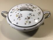 Vintage 1950s Noritake Snowflakes 5548 Round Covered Serving Bowl Discontinued