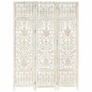 Vidaxl Hand Carved 3-panel Room Divider White 47.2x65 Solid Mango Wood