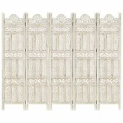 Vidaxl Hand Carved 5-panel Room Divider White 78.7x65 Solid Mango Wood