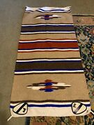 Hand Woven Horse Saddle Blanket W Army Cavalry Leather Patches Southwest Design