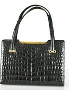 Vintage Crocodile Leather Hand Bag With Dust Cover