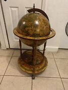 Vtg Italian Old World Globe Bar Cabinet On Casters 36 Inches Tall Zodiac Signs