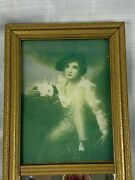 Sale Antique Victorian Wall Trumeau Mirror Woman With Bunny Portrait Print