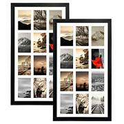 12 Opening 4x6 Black Collage Picture Frames Set Of 2, Multiple Frames For