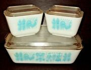 3 Lot Pyrex Turquoise Blue Amish Butterprint Refrigerator Dish Set 503 And 501