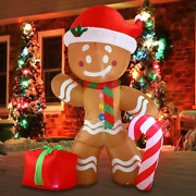 Big Christmas Gingerbread Man Inflatable Led Indoor Outdoor Decoration 11 Tall
