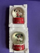 Collectable Lot Of 2 Pcs Disney Mini Snow Globes Mickey Mouse-2007,2009 - New