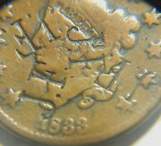 Large Cent/penny 1833 Counterstamp Jf
