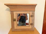 Antique Pine Medicine Cabinet W/ Crown Molding - Rope Turning Detail - Unusual