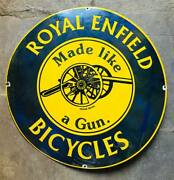 Vintage Porcelain Enamel Royal Enfield Bicycles Made Like A Gun Sign 30 Inches