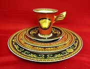 4 Medusa Red By Rosenthal - Versace 5 Piece Place Settings, Fine China, Mint