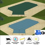 Gli Valuex Solid Grecian Swimming Pool Safety Cover W/ Left End Step And Pump