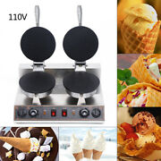 New Commercial Electric Non-stick Ice Cream Waffle Cone Baker Maker Machine 110v
