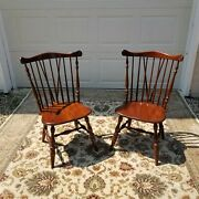 Rare Vtg Ethan Allen Solid Cherry Windsor Spindle Fiddleback Duxbury Chairs