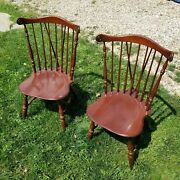 Rare Vtg Ethan Allen Solid Cherry Windsor Spindle Fiddleback Duxbury Chairs 2