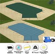 Gli Valuex Solid Grecian Swimming Pool Safety Cover W/ Right End Step And Pump