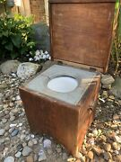 Antique Primitive Solid Wood Lift-top Bedside Toilet Commode Chamber Pot