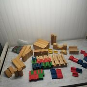 Vintage Solid Wooden Building Stacking Blocks Children's Toys Natural Painted