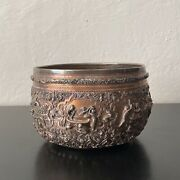 19th C. Asian Burmese Repousse Silver Bowl 8 Scenes Of Working People Farm Lifeandnbsp