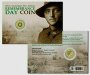 Australia 2014 2 Unc Remembrance Day Green Coin On Card No Mintmark Coin Pack