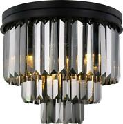 Sydney Flush-mount Light Fixture Traditional Antique Silver Shade Crystal