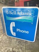 1 Aluminum Bell Atlantic Pay Phone Sign 2 Sided 18x18 Wide